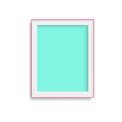 Realistic green photo frame. Vector.