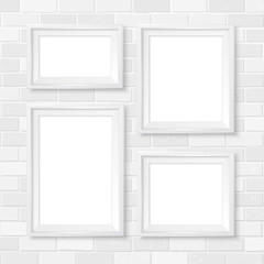 Frames wall gallery mockup white brick wall 3