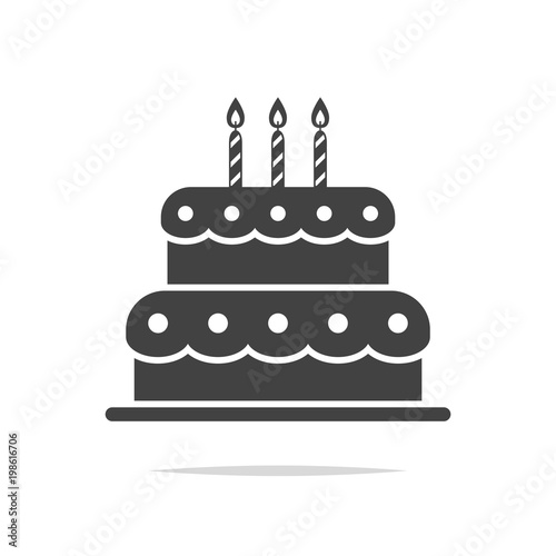 Birthday Cake Icon Vector Isolated Stock Image And Royalty Free