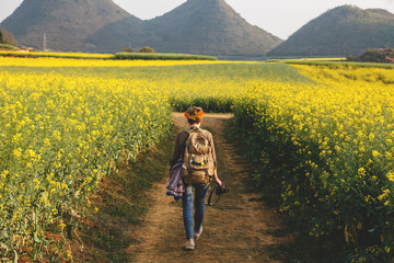 Woman tourist walk through beautiful rapeseed fields in countryside
