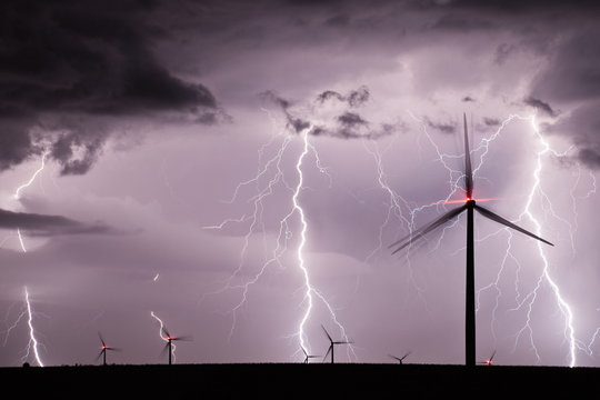 Thunderstorm with lightnings over a wind farm