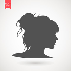Young woman head vector silhouette isolated on white background . Portrait of woman in profile , isolated silhouette - vector illustration