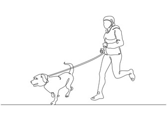 one line drawing of man running with dog