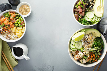 Variety of poke bowls with tuna, salmon and tofu