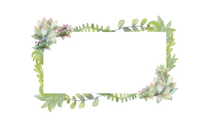 Watercolor cactus banner frame