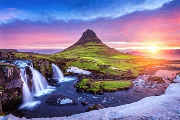 Kirkjufell at sunrise in Iceland. Beautiful landscape and sunrise.