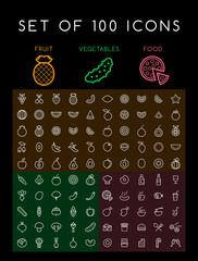 Set of 100 Minimal Universal Modern Elegant White Thin Line Icons ( Vegetables fruits and Food ) on Black Background