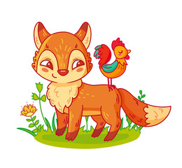 Cute cartoon fox and rooster. Vector illustration of adorable forest animal for children.