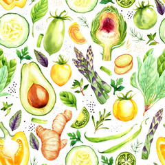 Seamless pattern with watercolor vegetables on white background
