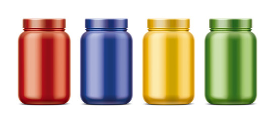 Blank bottles for protein. Colored version.