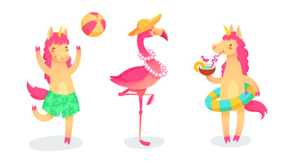 Cool set with cartoon unicorns and flamingo on summer holidays. Vector trendy collection.