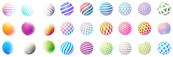 Set of minimalistic shapes. Halftone bright color spheres isolated on white background. Stylish emblems. Vector spheres with dots, stripes, triangles, hexagons for web designs. Simple signs collection