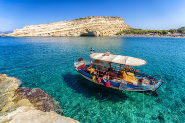 Clear sea at Matala resort. Crete, Greece