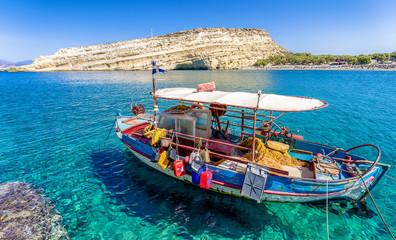 Boat on sea at Crete island, greece