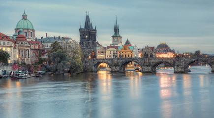 Evening view of the historic part of the city Prague, Czech Republic.