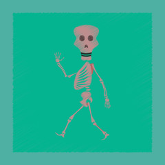 flat shading style icon skeleton Halloween monster