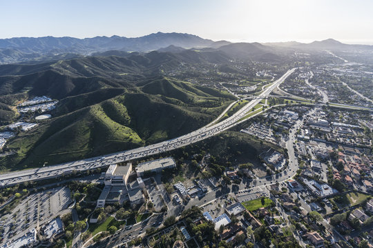 Aerial view of Ventura 101 freeway and suburban Thousand Oaks near Los Angeles, California.