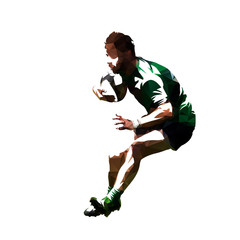 Polygonal rugby player running with ball, low poly vector isolated illustration