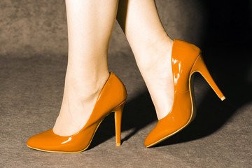 orange high heels shoes