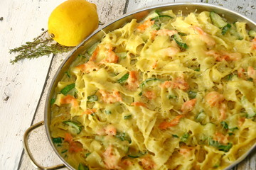 pasta with salmon, close up