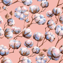 Watercolor seamless texture (pattern) of cotton's buds on pink background
