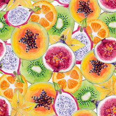 Watercolor seamless pattern (texture) with tropical fruits