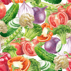 Watercolor hand-drawn seamless pattern (texture) with vegetables