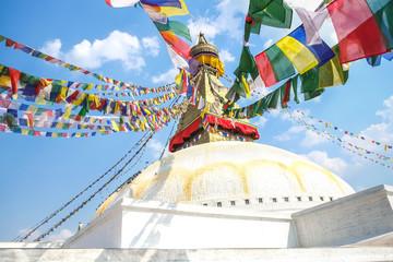 In de dag Nepal Boudhanath Stupa in Kathmandu, Nepal