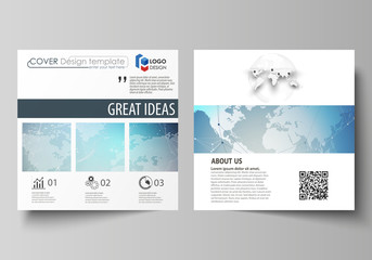 The minimalistic vector illustration of editable layout of two square format covers design templates for brochure, flyer, booklet. Polygonal geometric linear texture. Global network, dig data concept.