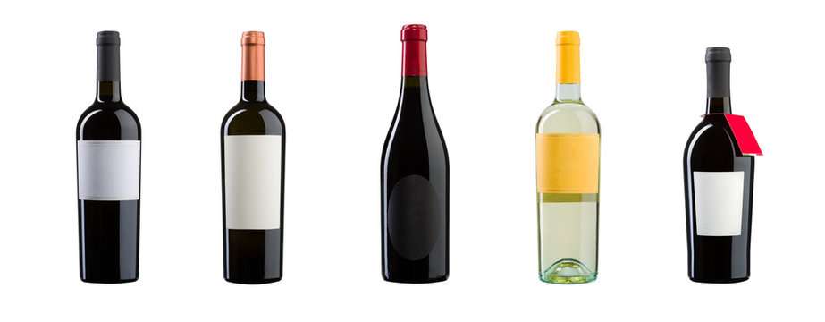 New wine bottles on white background