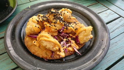 Mexican appetizer, fried shrimp taco, restaurant in Playa del Carmen, Cancun