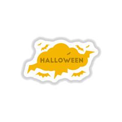 paper sticker on background of cloud bats