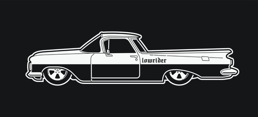 Monochrome low rider car. Retro style pick up.