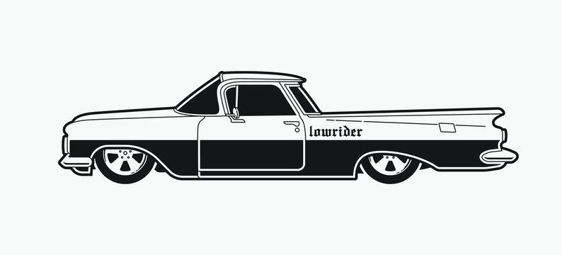 Monochrome low rider car. Retro style pick up.