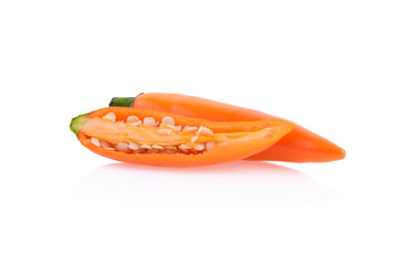 Cayenne pepper yellow isolated on white background