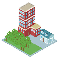 Isometric residences buildings vector illustration graphic design