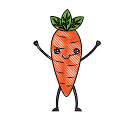 kawaii character carrot vegetable happy