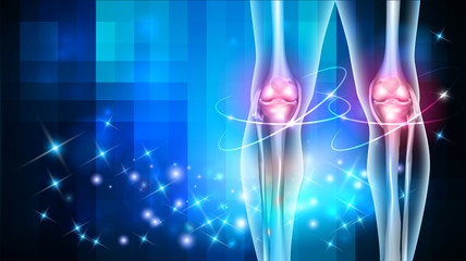 Joint damage treatment abstract blue background with beautiful glow
