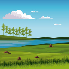 Spoed Fotobehang Blauw Beautiful nature landscape with lake vector illustration graphic design