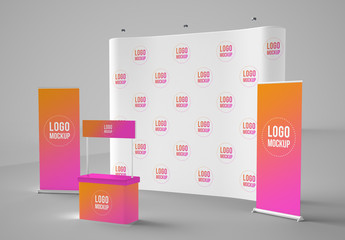 Banners, Backdrop, and Kiosk Mockup