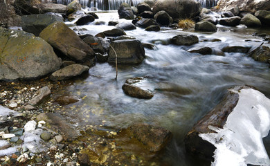 Rio San Pellegrino flowing through a wood, Alto Adige, South Tyrol, Dolomites, Italy. Long expo shot of Rio di San Pellegrino in the San Pellegrino Valley in the Italian Dolomites. Mountain river.