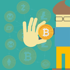Man hold bitcoin coin money. Vector flat cartoon character illustration icon design. Business, Cryptocurrency, bitcoin concept