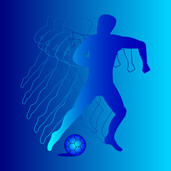 football player, soccer ball, circuit, abstraction