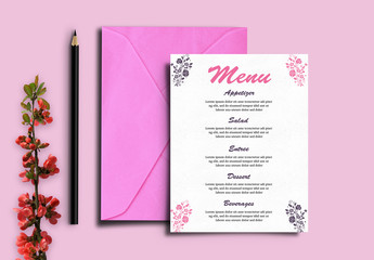 Wedding Menu Card Layout with Pink Accents