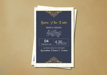 Save The Date Card Layout with Yellow Ornamental Elements