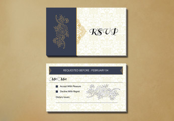 Wedding RSVP Card Layout with Yellow Ornamental Elements