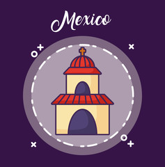Mexico design with church over circular frame and purple background, colorful design. vector illustration
