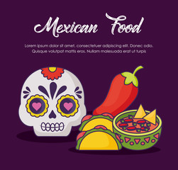 Infographic design of mexican food with related icons over purple background, colorful design. vector illustration