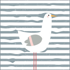 Funny seagull childish print. Vector hand drawn illustration.