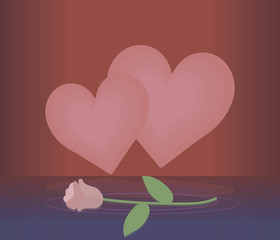 two light pink hearts on a red background with reflection and a light rose on blue water vector greeting card